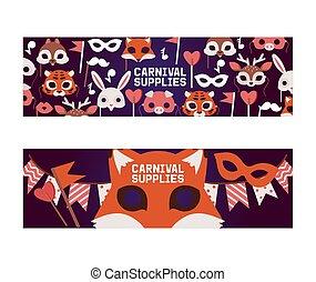 ensemble, headwear, déguisement, modèle, masqué, animal, chapeau partie, mascarade, illustration, anniversaire, masques, fond, enfant, bannière, dessin animé, célébration, gosses, masque carnaval, vecteur, toile de fond, animalistic