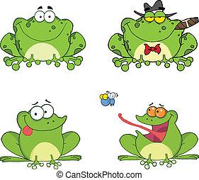 ensemble, heureux, grenouilles, collection, 2