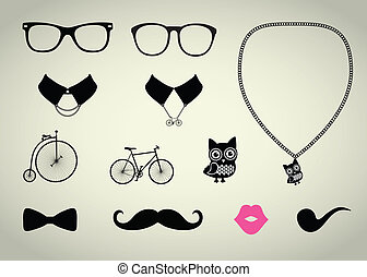 ensemble, hipster, accessoire