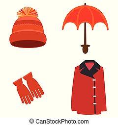 ensemble, hiver, accessoires, vecteur, habillement, rouges