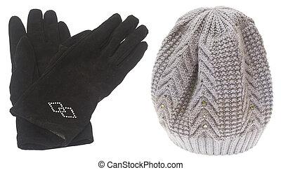 ensemble, hiver, isolé, arrière-plan., gants, chapeau blanc