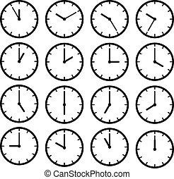 ensemble, horloge, face., isolé, noir, blanc, icône