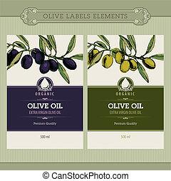 ensemble, huile, olive, étiquettes