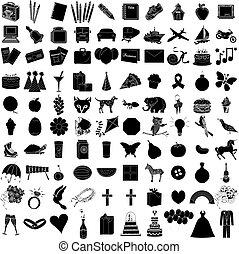ensemble, icône, 1, 100