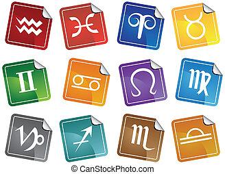 ensemble, icône, autocollant, astrologie