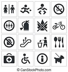 ensemble, icône, international, signes