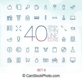 ensemble, icônes, 40, mince, branché, 8