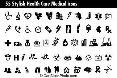 ensemble, icônes, 55, monde médical, healthcare, élégant