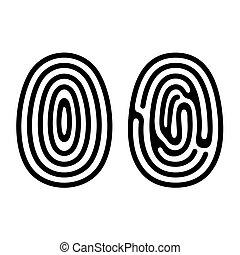 ensemble, icônes, arrière-plan., vector., empreinte doigt, blanc