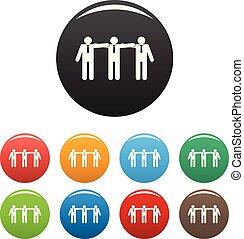ensemble, icônes bureau, couleur, vecteur, collaboration