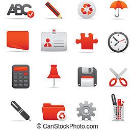 ensemble, icônes bureau, série, 01,  , rouges