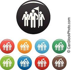 ensemble, icônes, couleur, concurrence, vecteur, collaboration