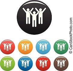 ensemble, icônes, couleur, enjôleur, vecteur, collaboration
