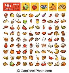 ensemble, icônes, couleur, grand, nourriture, 2