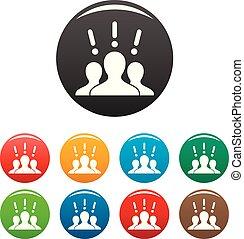 ensemble, icônes, couleur, marque, idée, collaboration