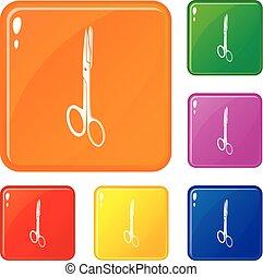 ensemble, icônes, couleur, monde médical, vecteur, ciseaux