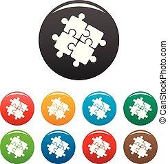 ensemble, icônes, couleur, puzzle, solution, collaboration
