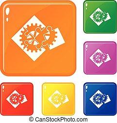 ensemble, icônes, couleur, puzzle, vecteur, collaboration