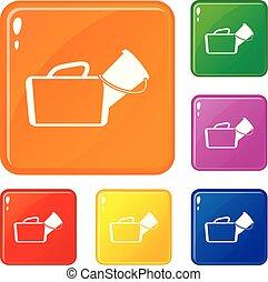 ensemble, icônes, couleur, sac médical, vecteur