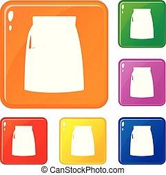 ensemble, icônes, couleur, solution, vecteur, hcl