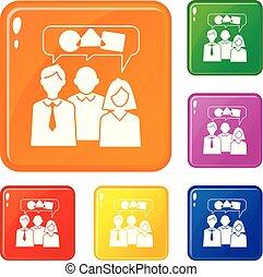 ensemble, icônes, couleur, vecteur, collaboration, bavarder