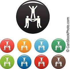 ensemble, icônes, couleur, vecteur, collaboration, heureux