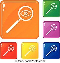 ensemble, icônes, couleur, verre, vecteur, magnifier