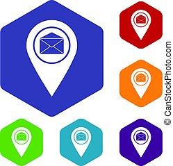 ensemble, icônes, enveloppe, signe, emplacement, marqueur