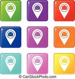 ensemble, icônes, enveloppe, signe, marqueur, emplacement, 9