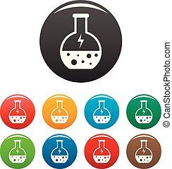 ensemble, icônes, flacon, énergie, solution, couleur