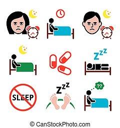 ensemble, icônes, insomnie, gens, dormir, ennui, avoir