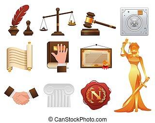ensemble, icônes, justice, réaliste, droit & loi, ordre