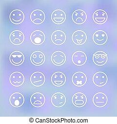 ensemble, icônes, mobile, smiley, application, faces, interface