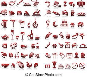 ensemble, icônes, nourriture, boisson, 77, fond, blanc
