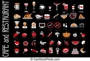 ensemble, icônes, nourriture, boisson, arrière-plan noir