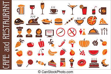 ensemble, icônes, nourriture, boisson, fond, blanc