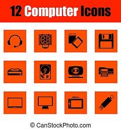 ensemble, icônes ordinateur
