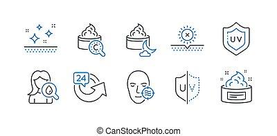 ensemble, icônes, problème, beauté, soleil, tel, uv, non, protection., peau, vecteur
