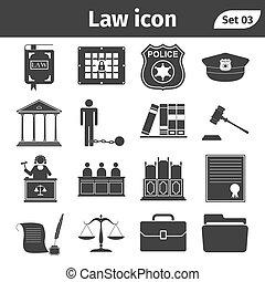 ensemble, icônes, simple, apparenté, justice, vecteur, droit & loi