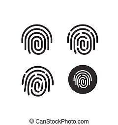 ensemble, icônes, symbole, formé, vecteur, empreinte doigt, rond
