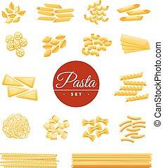 ensemble, icônes, traditionnel, réaliste, pâtes, italien