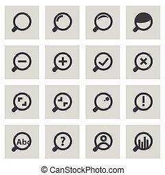 ensemble, icônes, verre, vecteur, ligne, magnifier