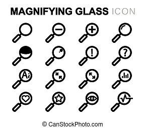 ensemble, icônes, verre, vecteur, noir, ligne, magnifier