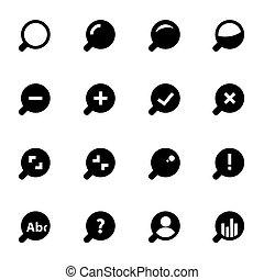 ensemble, icônes, verre, vecteur, noir, magnifier