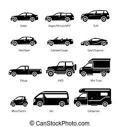 ensemble, icônes, voiture, objets, modèle, type