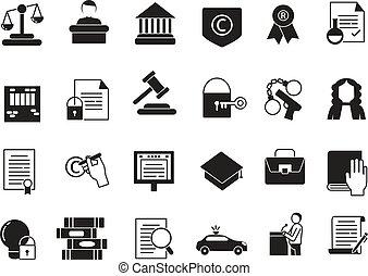 ensemble, icones affaires, légal, règlements, protection., monochrome, droit & loi, style.