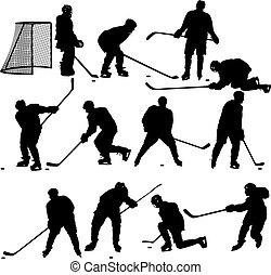 ensemble, illustra, player., isolé, silhouettes, hockey, white.