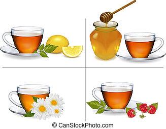 ensemble, illustration., arrière-plans, vecteur, tea., tasses