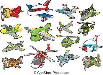ensemble, illustration, avion, vecteur
