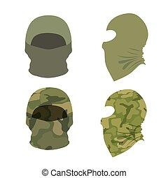 ensemble, illustration, casquettes, arrière-plan., vecteur, balaclava, blanc